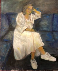 Dinie Goedhart, 'Zelfportret', 2018, 50 x 70, olieverf