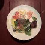 Dinie Goedhart, 'Salade Dick Soek', 2018, rond formaat, olieverf.