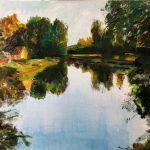 Dinie Goedhart, 'Spiegeling II De Meijer, Zegveld II', 65 x 80, olieverf, 2019