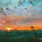 'Opgaande zon boven Dokkum III', 40 x 50, olieverf op doel, 2019, verkocht