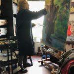 """Opzet """"Peter aan het werk', 122 x 82, olieverf op Mdf, 2020"""
