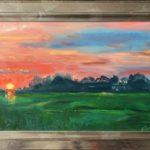 'Ondergaande zon bij Foudgum', 25 x 40, olieverf op paneel, 2020
