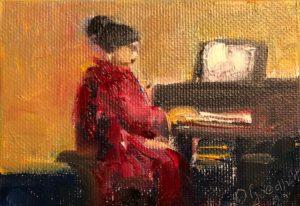 Pianist, 6 x 10, olieverf op doek, 2020