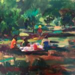 Picknick in het bos, 50 x 60, olieverf op paneel, 2020