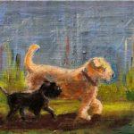 Duco en Otje in galop, 20 x 30, olieverf op doek, 2020
