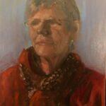 Portet uit de serie van 26 portretten 'Froulju fan Foudgum', 40 x 30, olieverf op doek of paneel, 2020