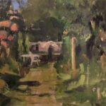 In de tuin van De Foudgumse School, 30 x 40, olieverf op paneel, 2020