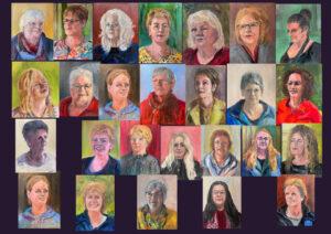 Project 'Froulju fan Foudgum', 26 portretten van alle vrouwen uit Foudgum, 40 x 30, olieverf of doek of paneel, 2020, 'Froulju fan Foudgum' is vanwege de lock down niet meer te bezichtigen.