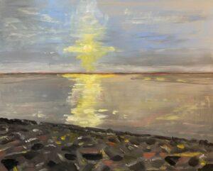 Bijzonder licht in Fryslan IV, 30 x 40, olieverf op paneel, 2021