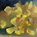 Dinie Goedhart, Gele tulp, 10 x 15, olieverf op 3D paneel, 2021