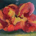 Dinie Goedhart, Rode tulp, 10 x 15, olieverf op 3D paneel, 2021