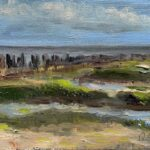 Dinie Goedhart, Wad II, 10 x 15, olieverf op 3D paneel, 2021, Galerie Paterswolde, Visitekaartjes